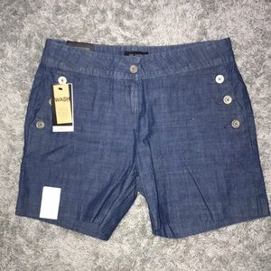 Button blue shorts